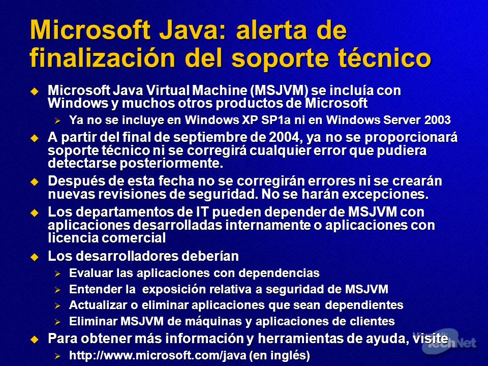 Microsoft Java: alerta de finalización del soporte técnico