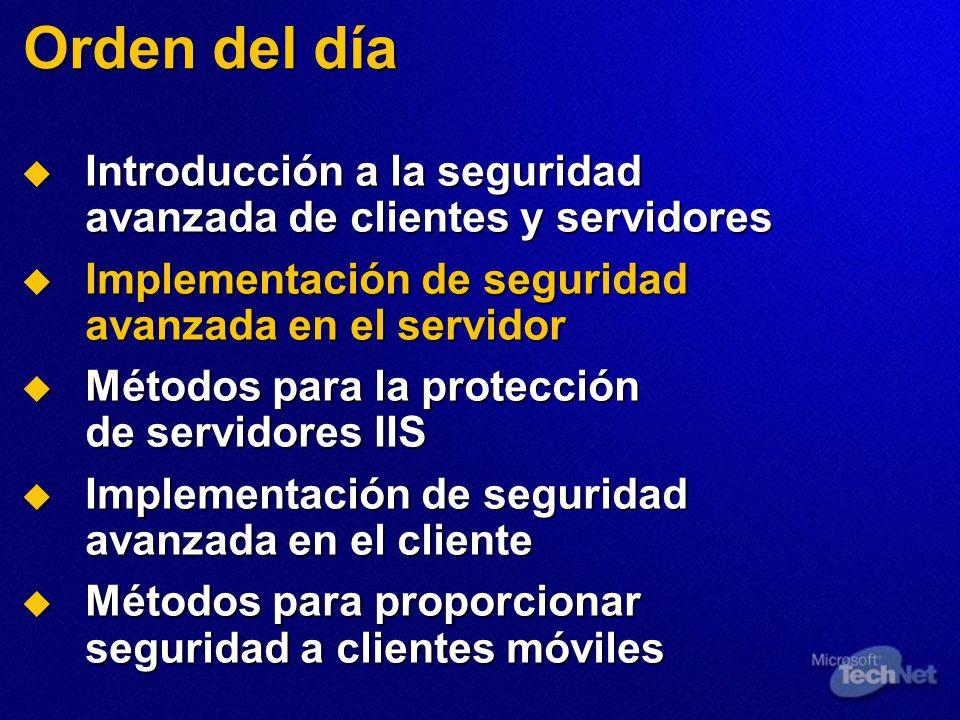 Orden del día Introducción a la seguridad avanzada de clientes y servidores. Implementación de seguridad avanzada en el servidor.