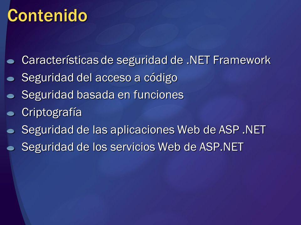 Contenido Características de seguridad de .NET Framework