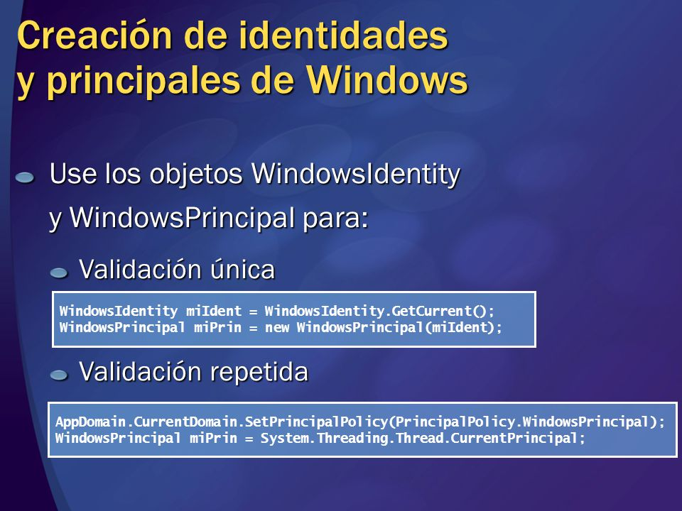 Creación de identidades y principales de Windows