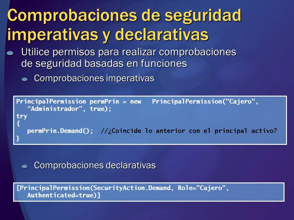 Comprobaciones de seguridad imperativas y declarativas