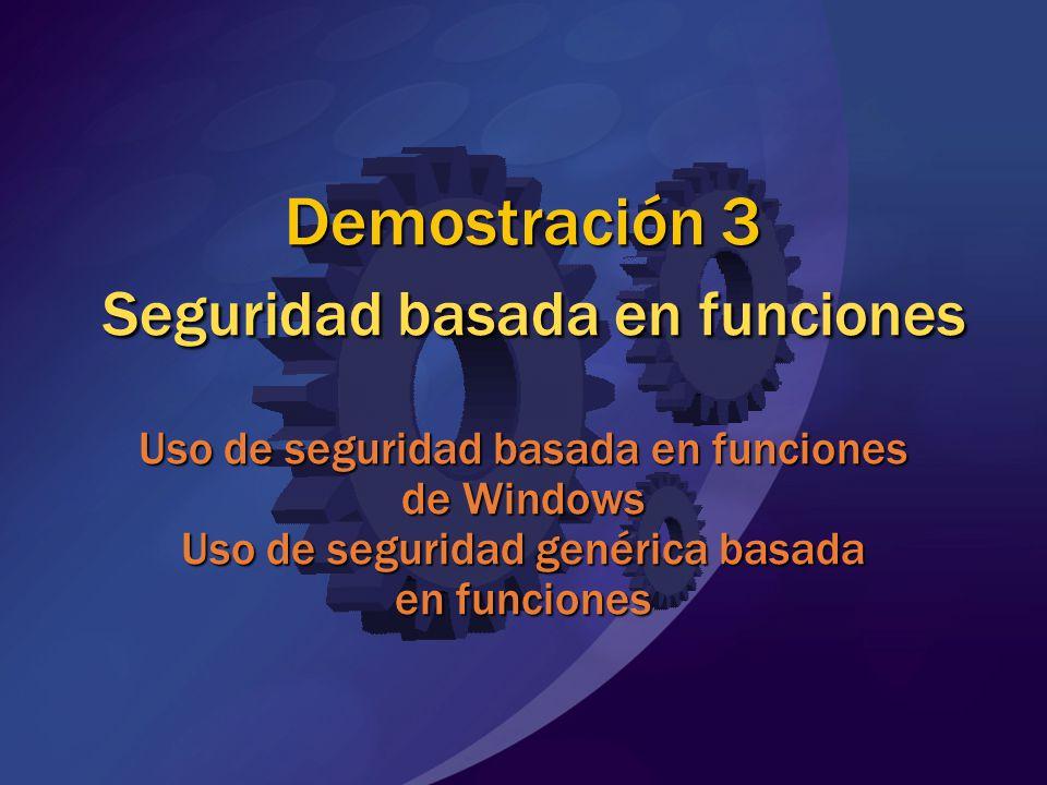 MGB 2003 Demostración 3 Seguridad basada en funciones Uso de seguridad basada en funciones de Windows Uso de seguridad genérica basada en funciones.
