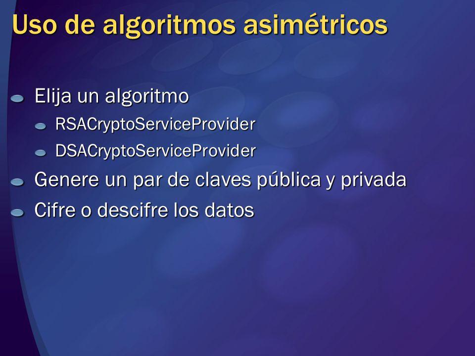 Uso de algoritmos asimétricos