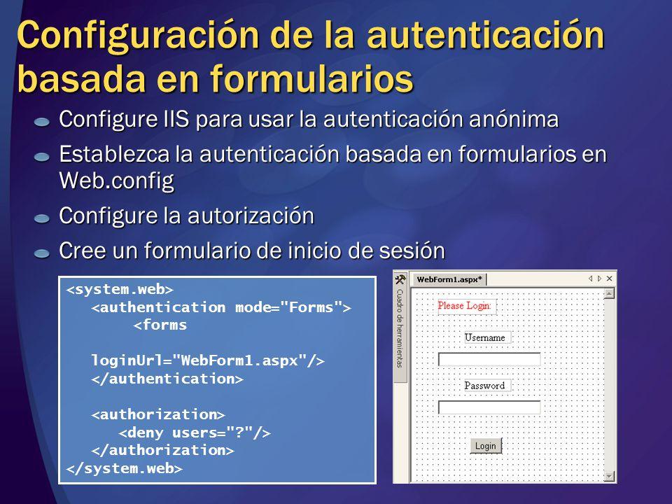 Configuración de la autenticación basada en formularios