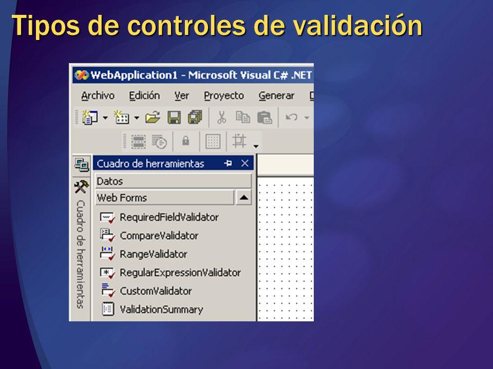 Tipos de controles de validación