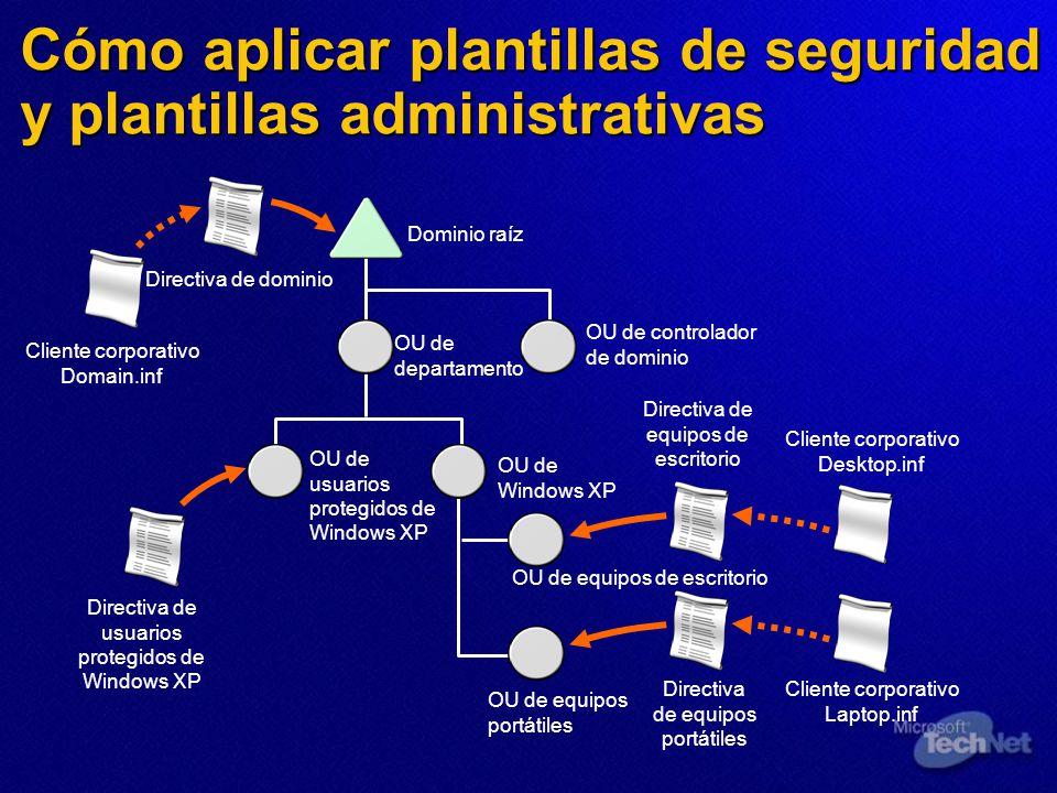 Cómo aplicar plantillas de seguridad y plantillas administrativas