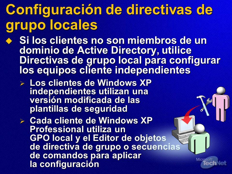 Configuración de directivas de grupo locales