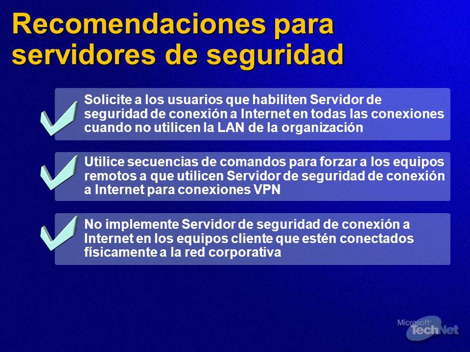 Recomendaciones para servidores de seguridad