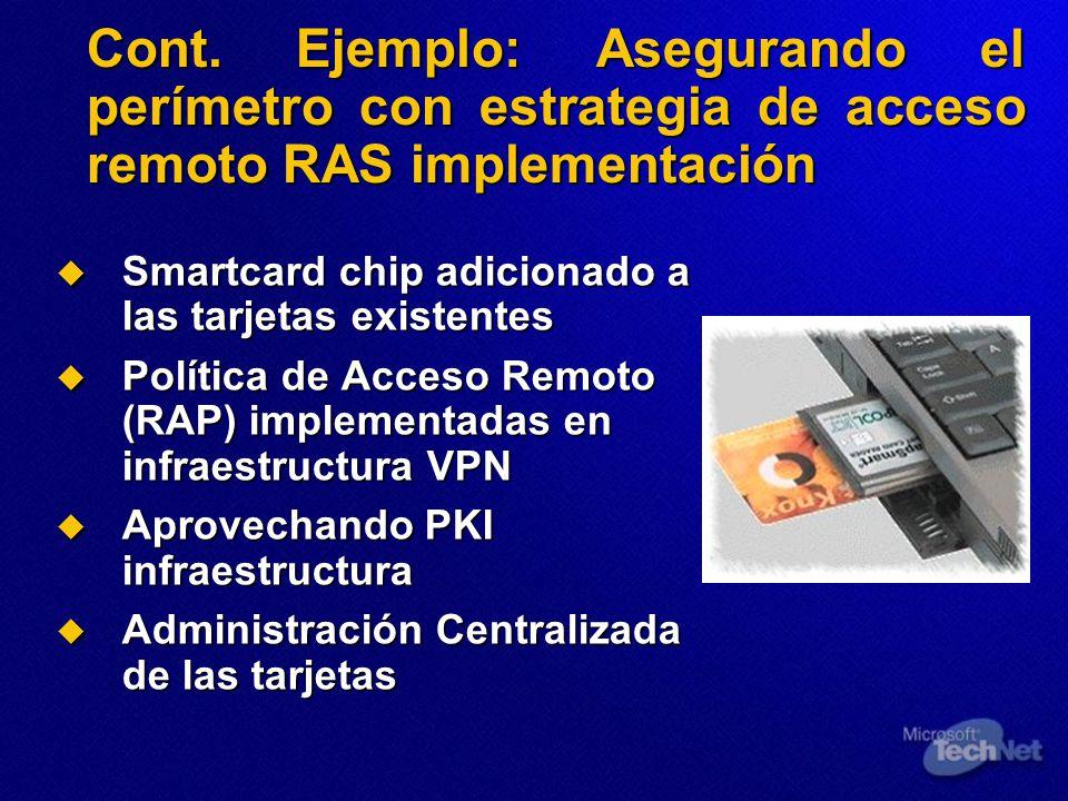 Cont. Ejemplo: Asegurando el perímetro con estrategia de acceso remoto RAS implementación