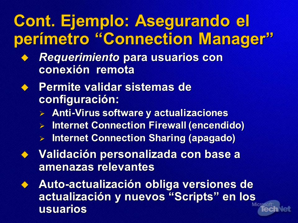 Cont. Ejemplo: Asegurando el perímetro Connection Manager
