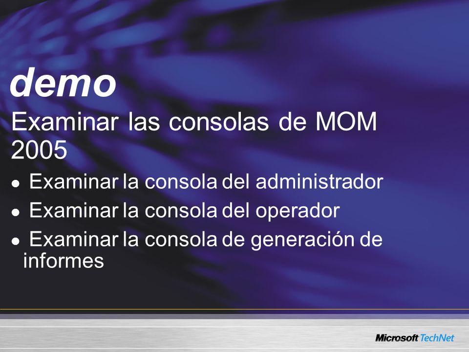 demo Examinar las consolas de MOM 2005
