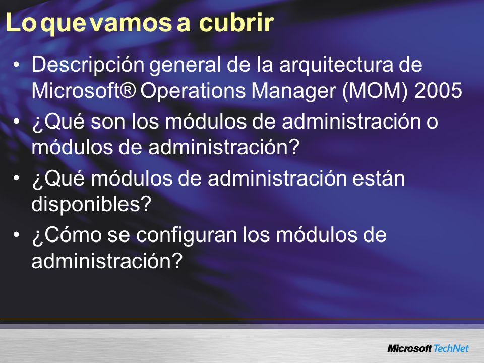 Lo que vamos a cubrir Descripción general de la arquitectura de Microsoft® Operations Manager (MOM) 2005.