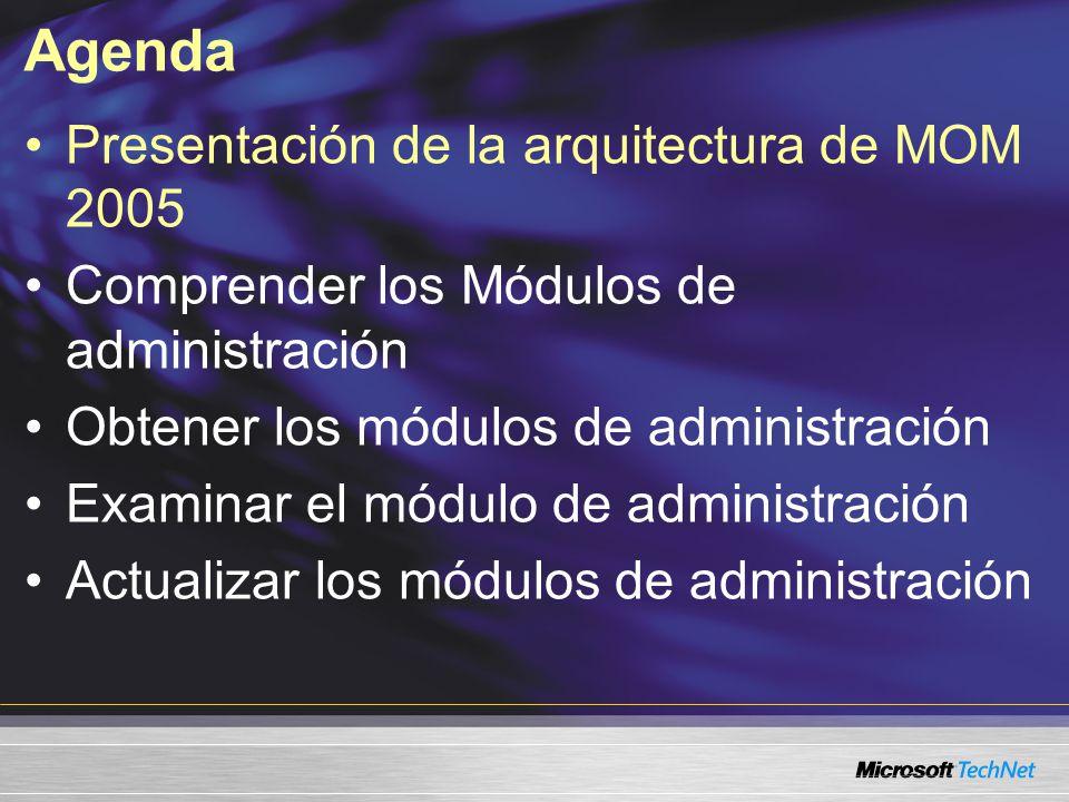 Agenda Presentación de la arquitectura de MOM 2005