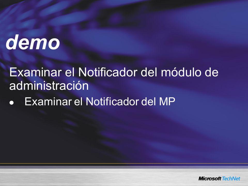 demo Examinar el Notificador del módulo de administración