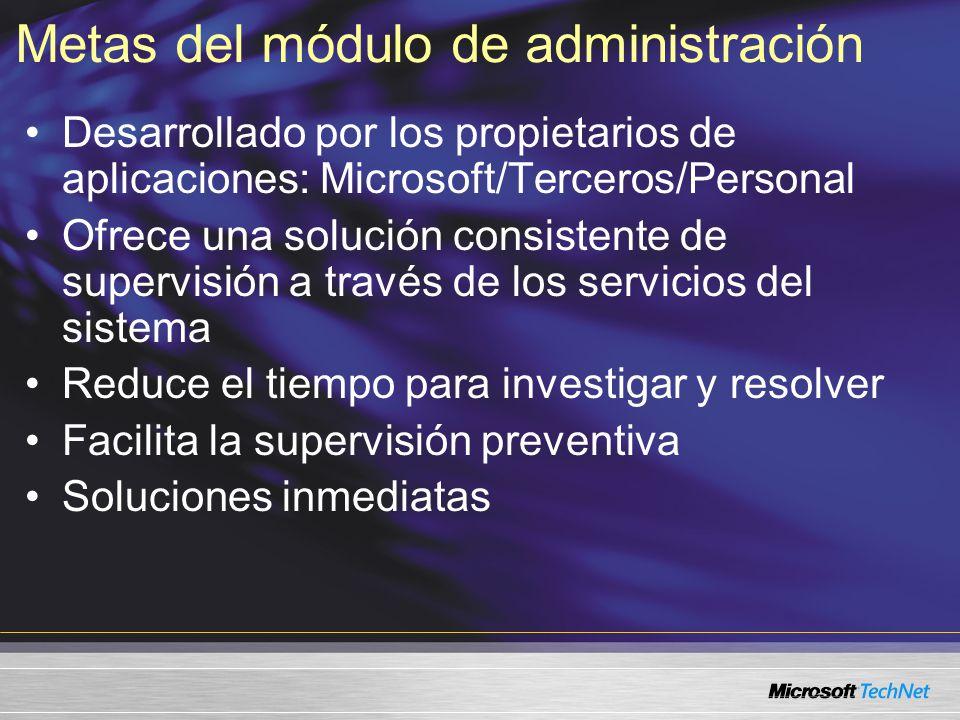Metas del módulo de administración