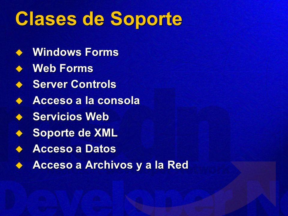 Clases de Soporte Windows Forms Web Forms Server Controls