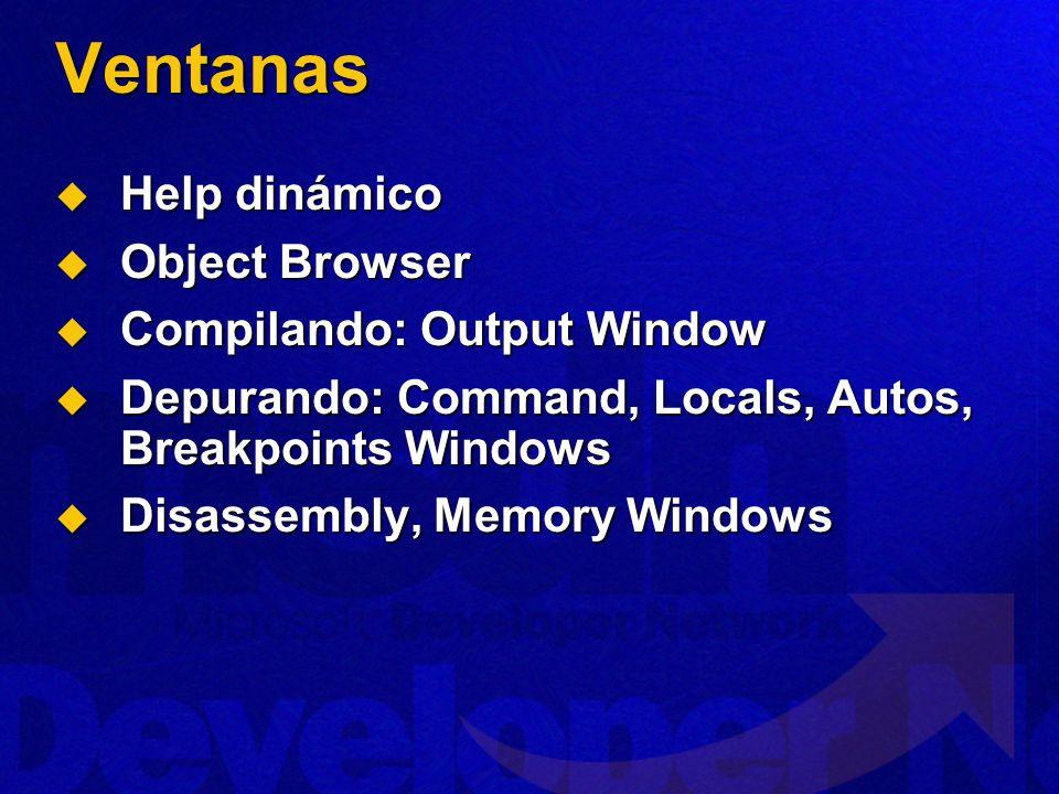 Ventanas Help dinámico Object Browser Compilando: Output Window