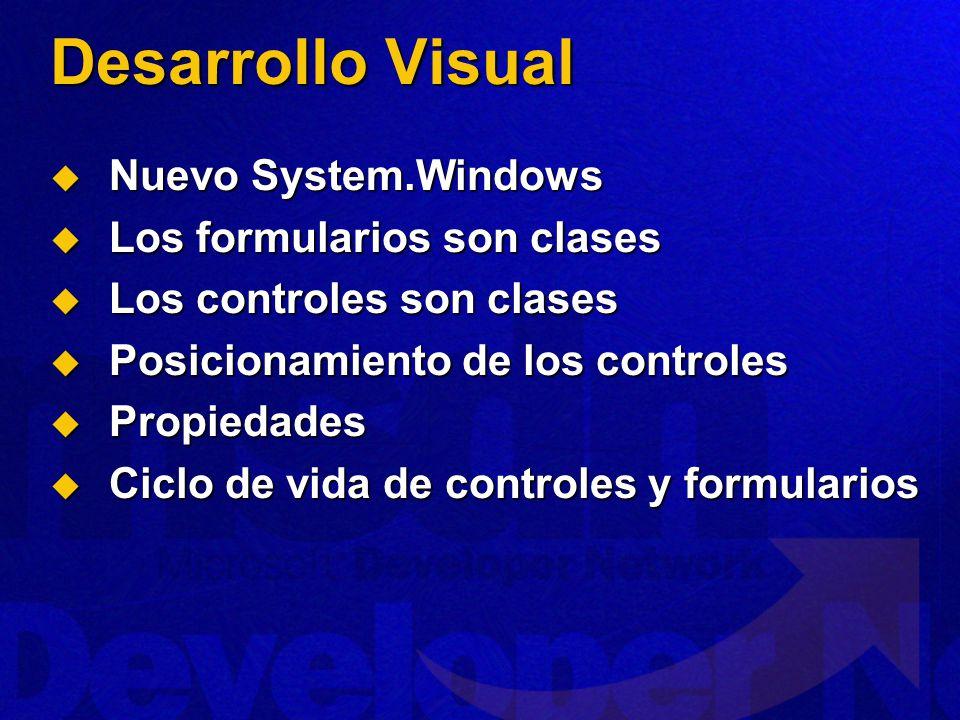 Desarrollo Visual Nuevo System.Windows Los formularios son clases