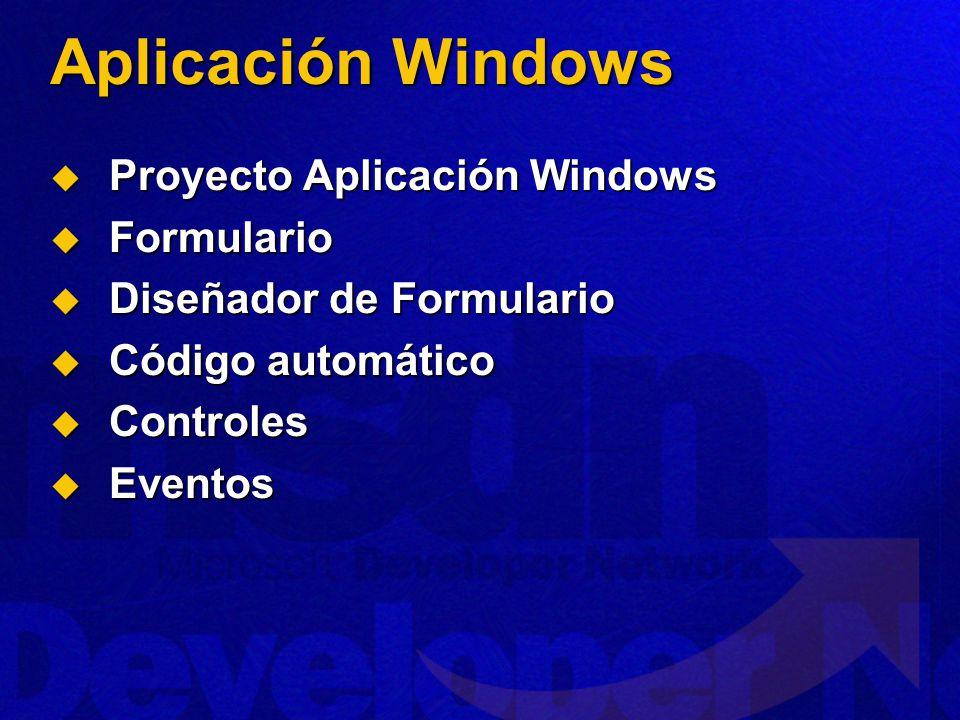 Aplicación Windows Proyecto Aplicación Windows Formulario