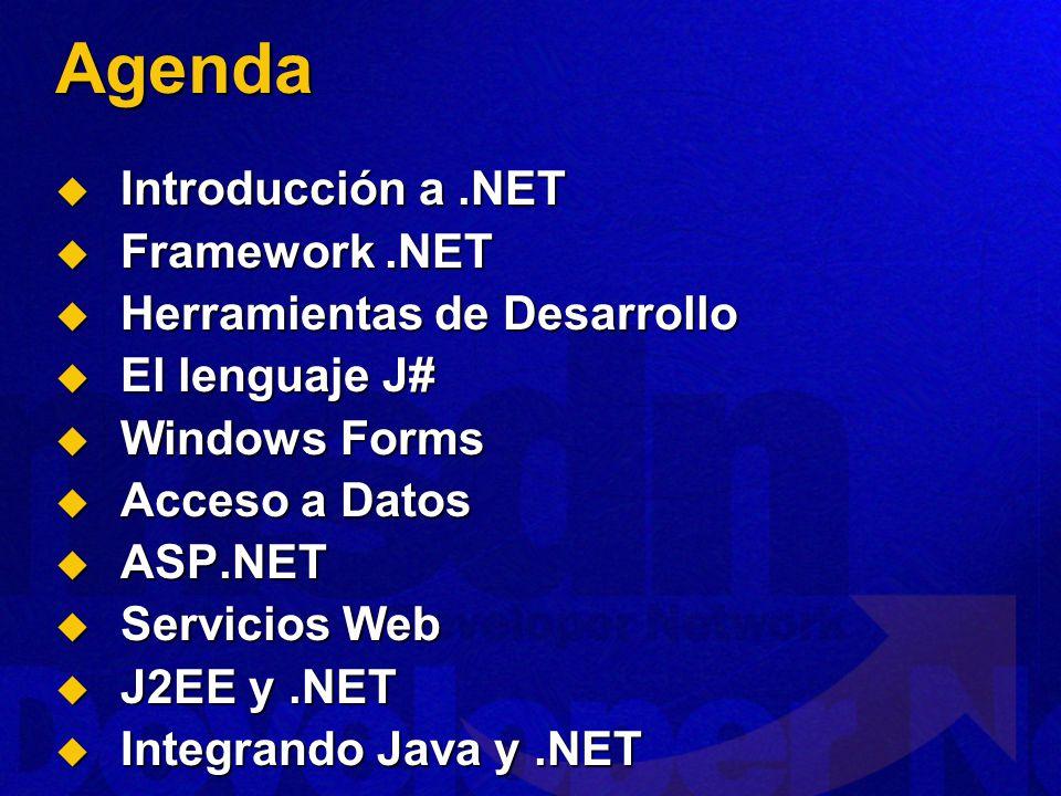Agenda Introducción a .NET Framework .NET Herramientas de Desarrollo