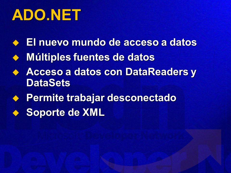 ADO.NET El nuevo mundo de acceso a datos Múltiples fuentes de datos