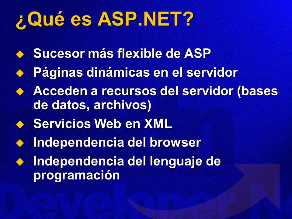¿Qué es ASP.NET Sucesor más flexible de ASP