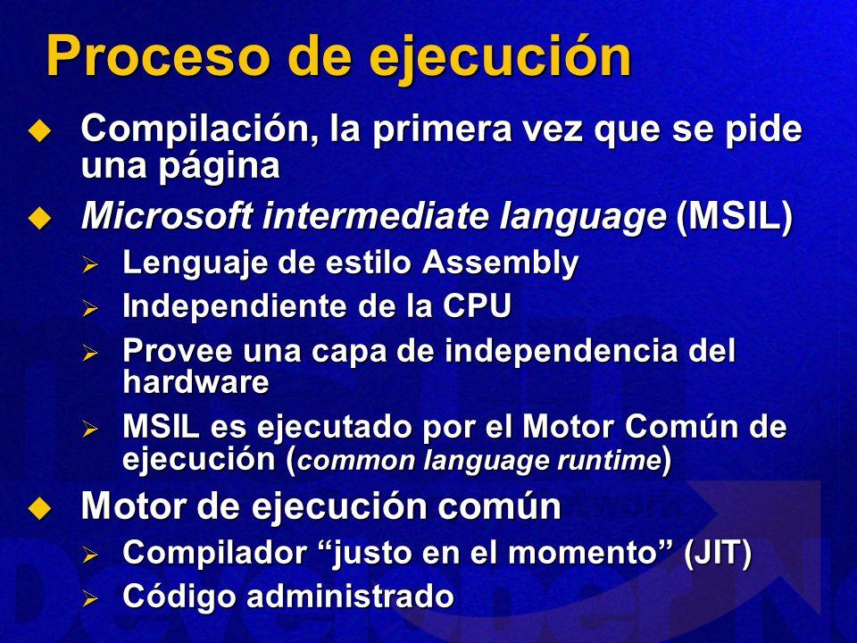 Proceso de ejecución Compilación, la primera vez que se pide una página. Microsoft intermediate language (MSIL)