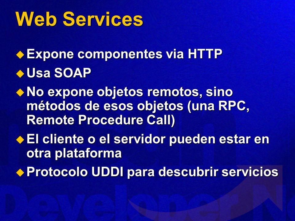 Web Services Expone componentes via HTTP Usa SOAP