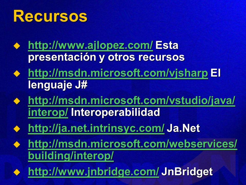 Recursos http://www.ajlopez.com/ Esta presentación y otros recursos