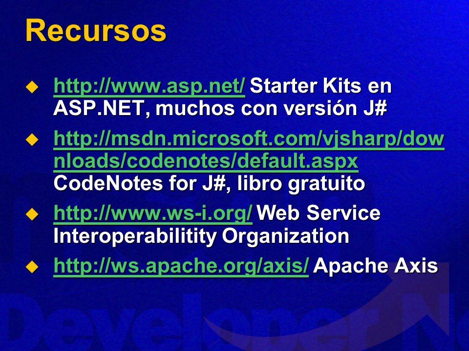 Recursos http://www.asp.net/ Starter Kits en ASP.NET, muchos con versión J#