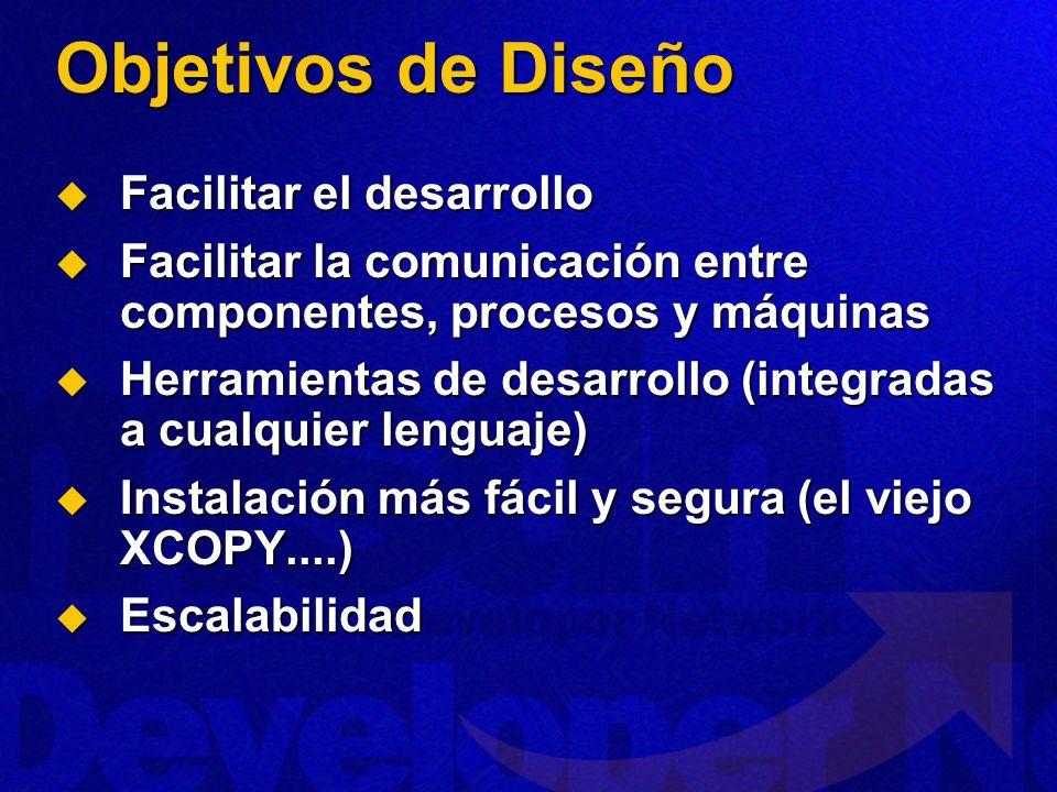 Objetivos de Diseño Facilitar el desarrollo