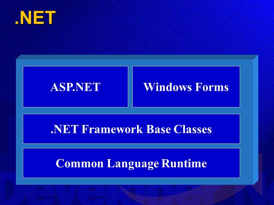 .NET Framework Base Classes Common Language Runtime