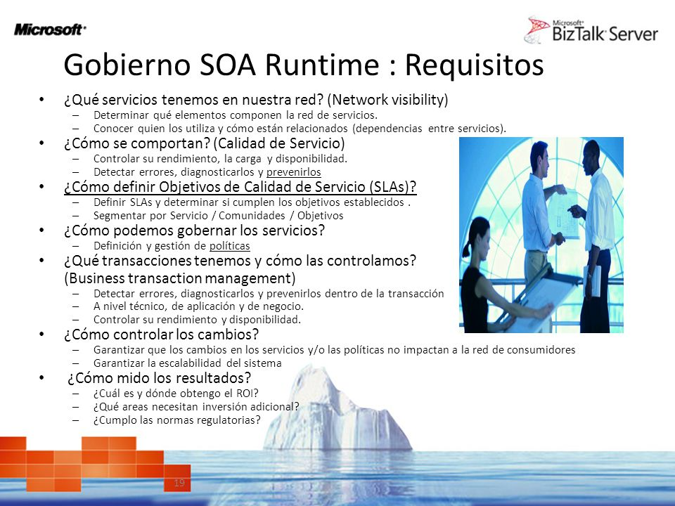 Gobierno SOA Runtime : Requisitos Definición y criterios de éxito