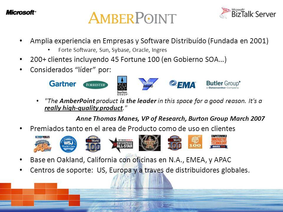 200+ clientes incluyendo 45 Fortune 100 (en Gobierno SOA…)