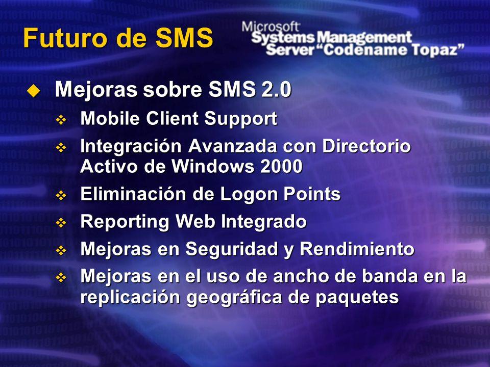 Futuro de SMS Mejoras sobre SMS 2.0 Mobile Client Support