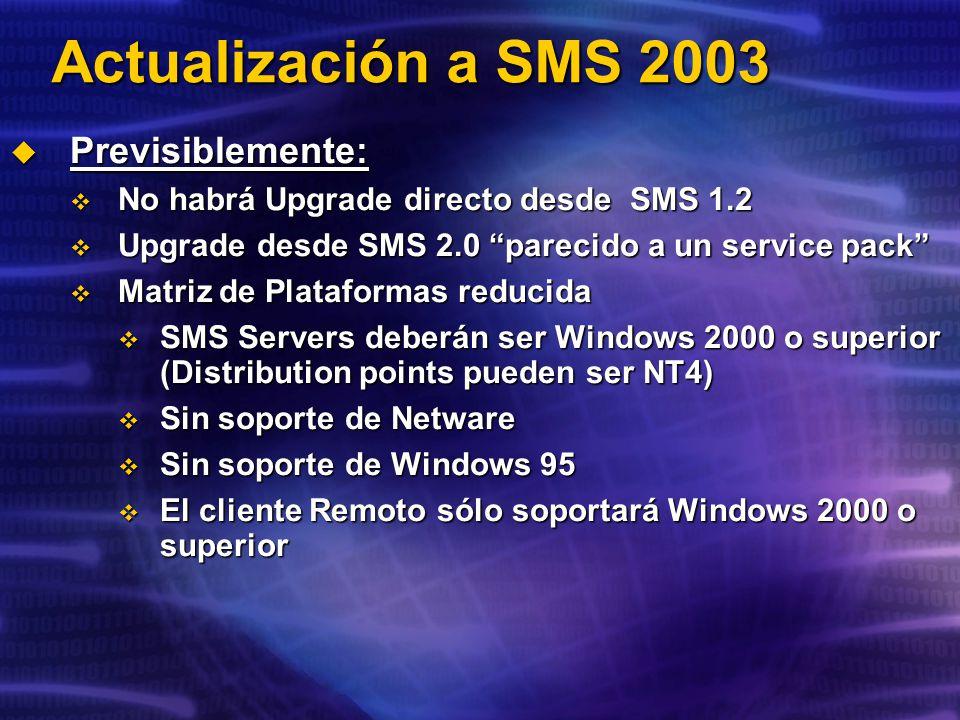 Actualización a SMS 2003 Previsiblemente: