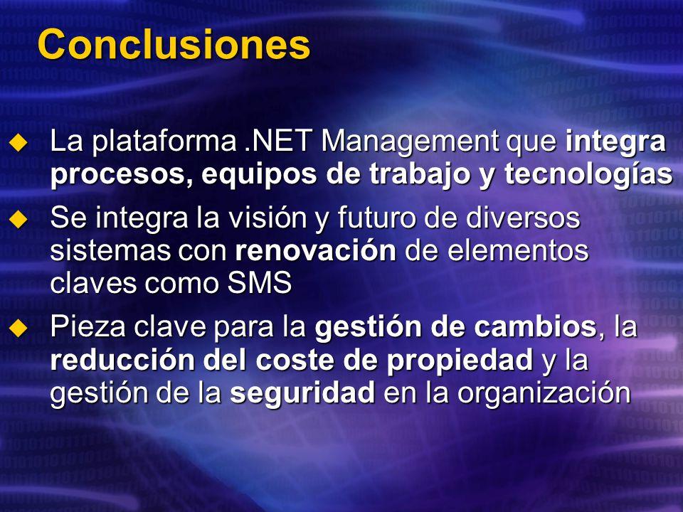 Conclusiones La plataforma .NET Management que integra procesos, equipos de trabajo y tecnologías.