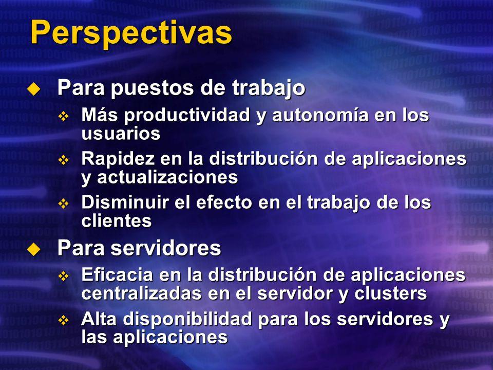 Perspectivas Para puestos de trabajo Para servidores