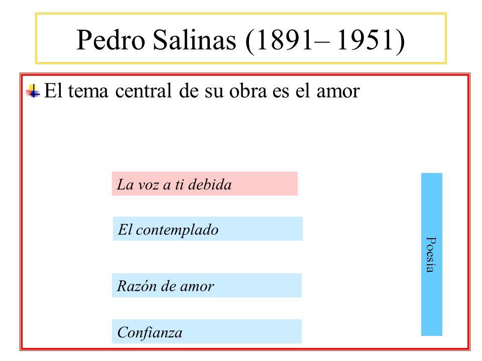 Pedro Salinas (1891– 1951) El tema central de su obra es el amor