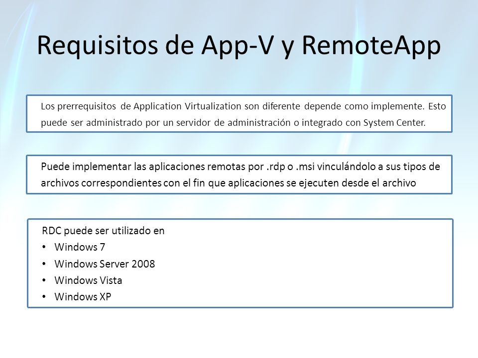 Requisitos de App-V y RemoteApp