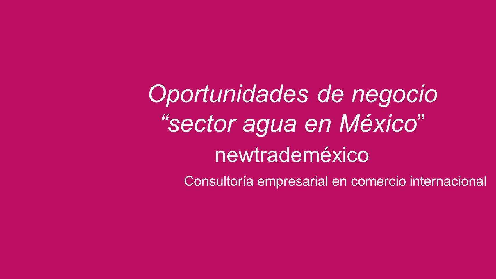 Oportunidades de negocio sector agua en México