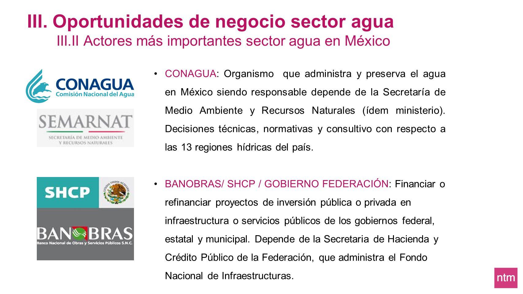III. Oportunidades de negocio sector agua