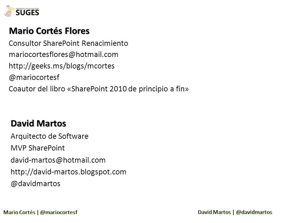 Mario Cortés Flores David Martos Consultor SharePoint Renacimiento