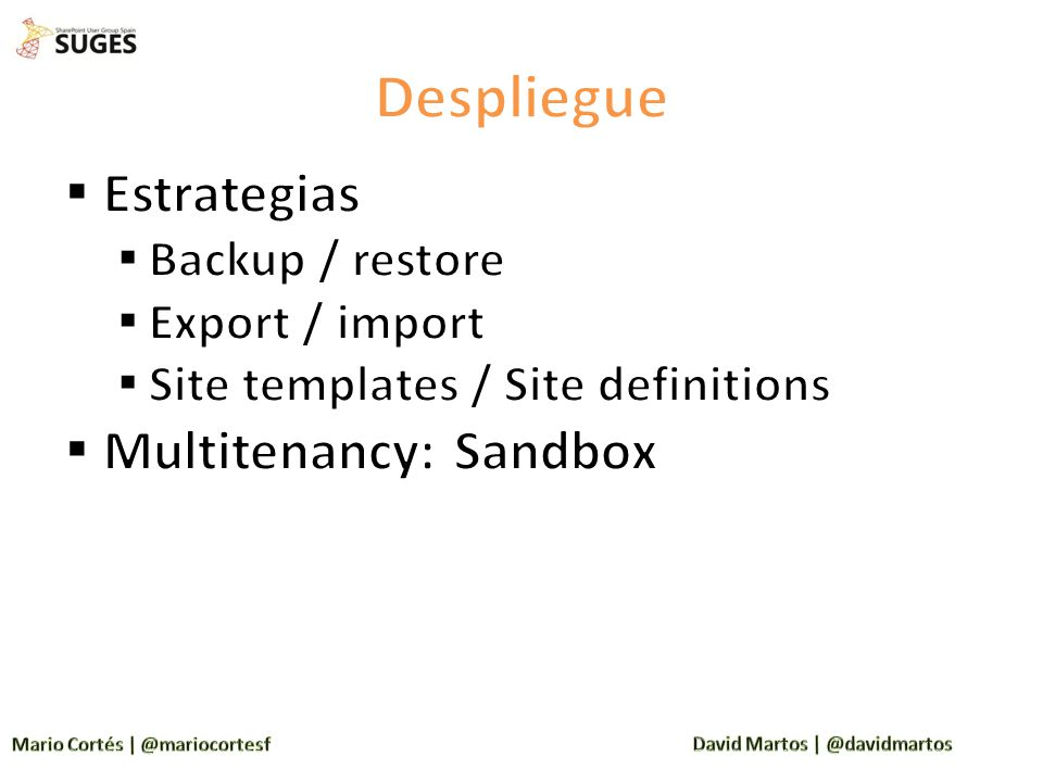 Despliegue Estrategias Multitenancy: Sandbox Backup / restore