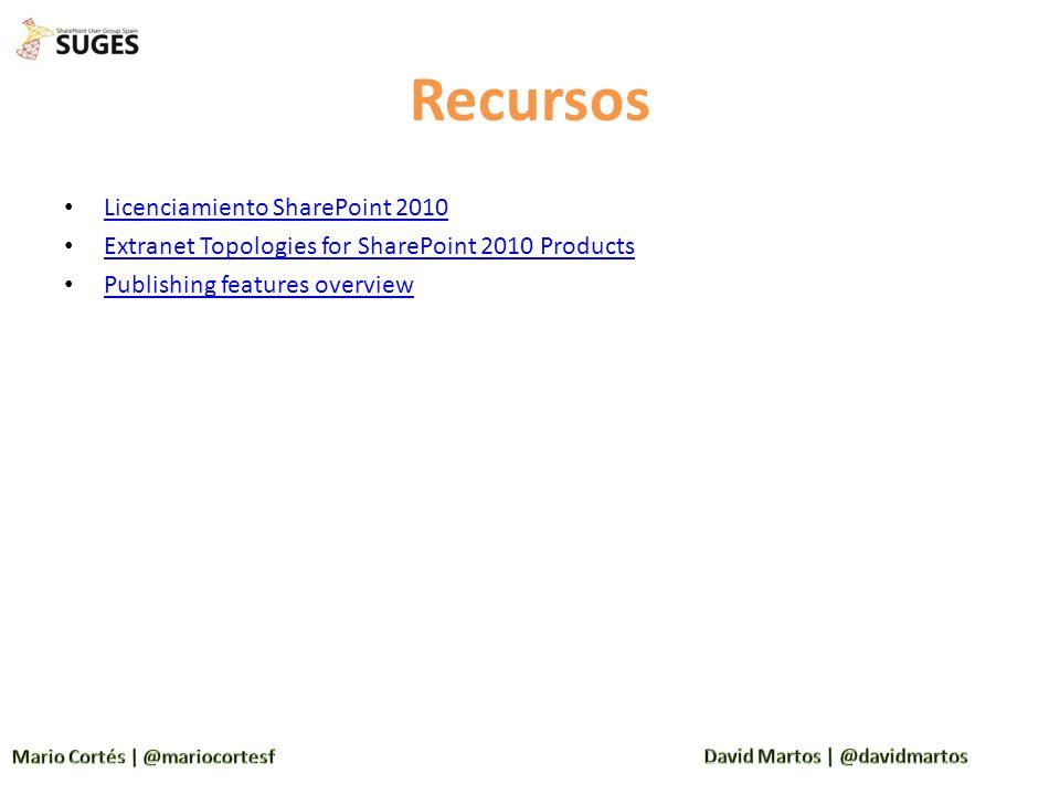Recursos Licenciamiento SharePoint 2010