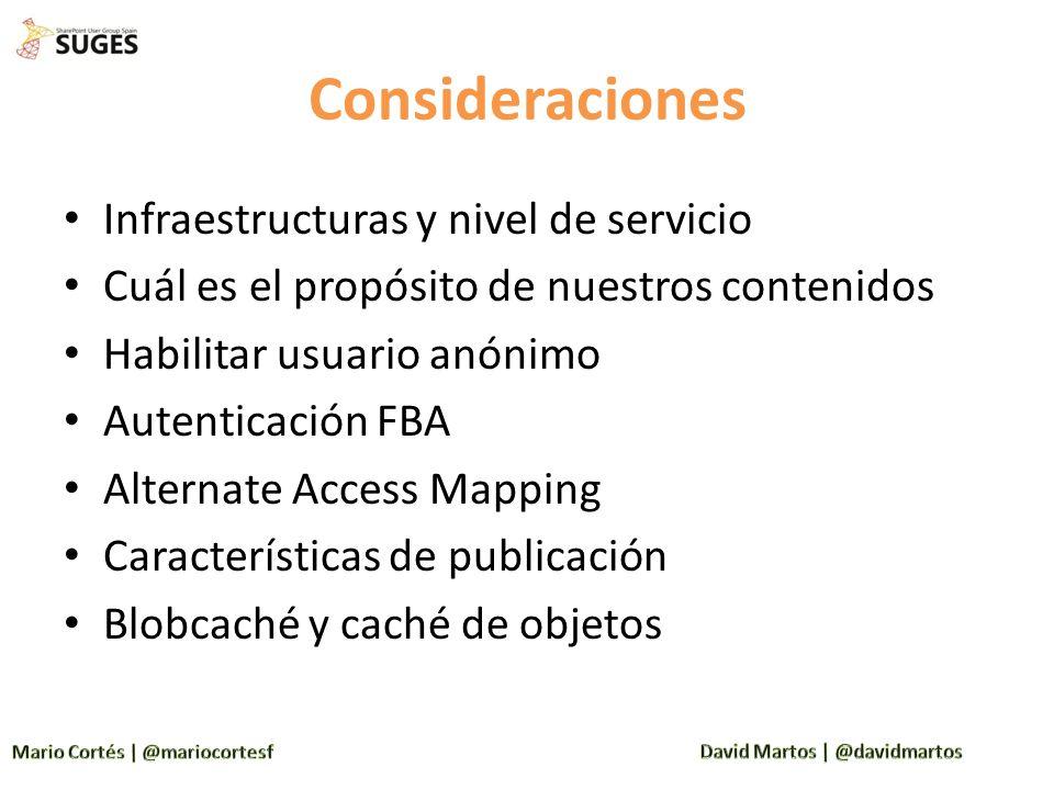 Consideraciones Infraestructuras y nivel de servicio