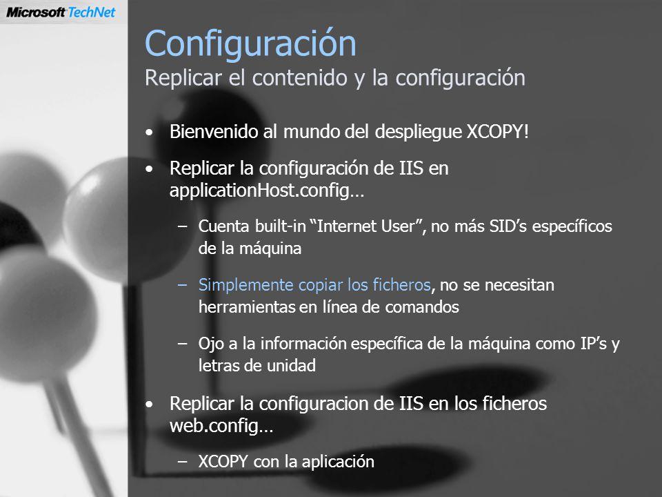 Configuración Replicar el contenido y la configuración