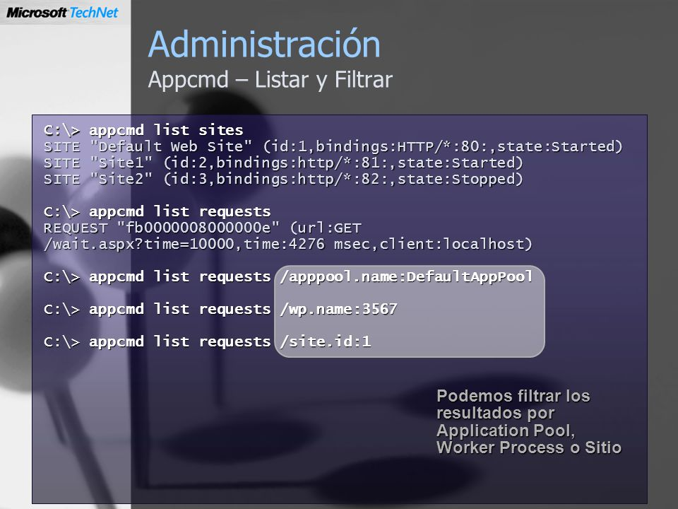 Administración Appcmd – Listar y Filtrar
