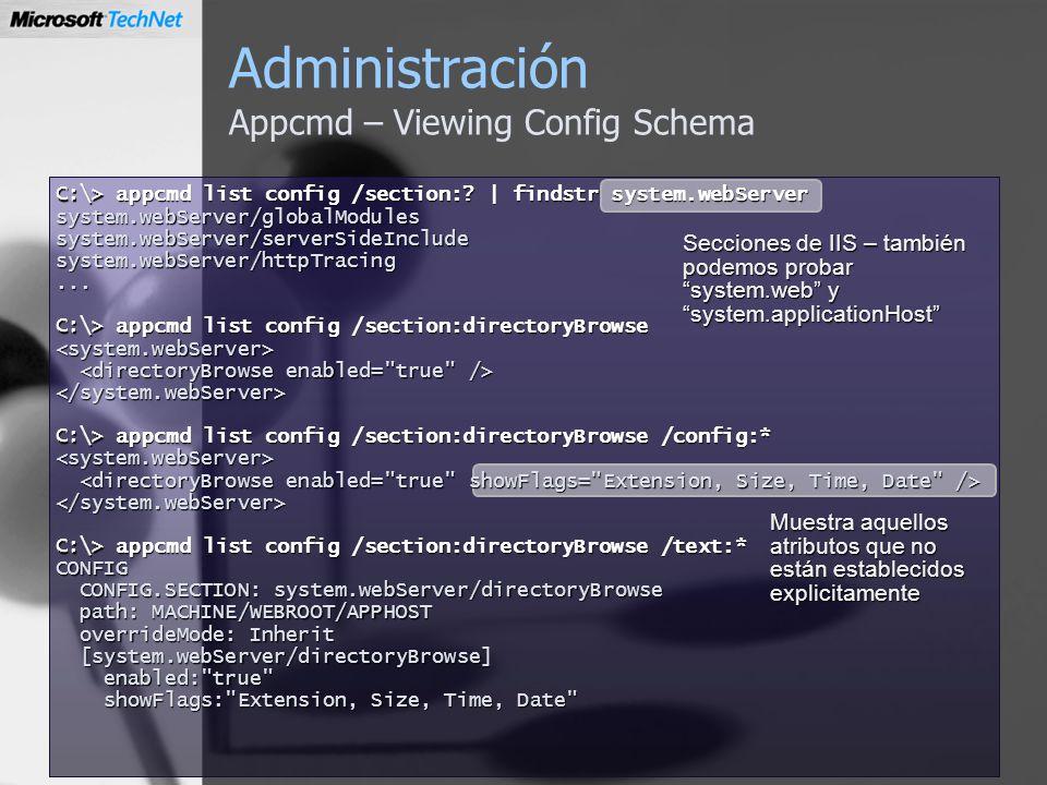 Administración Appcmd – Viewing Config Schema