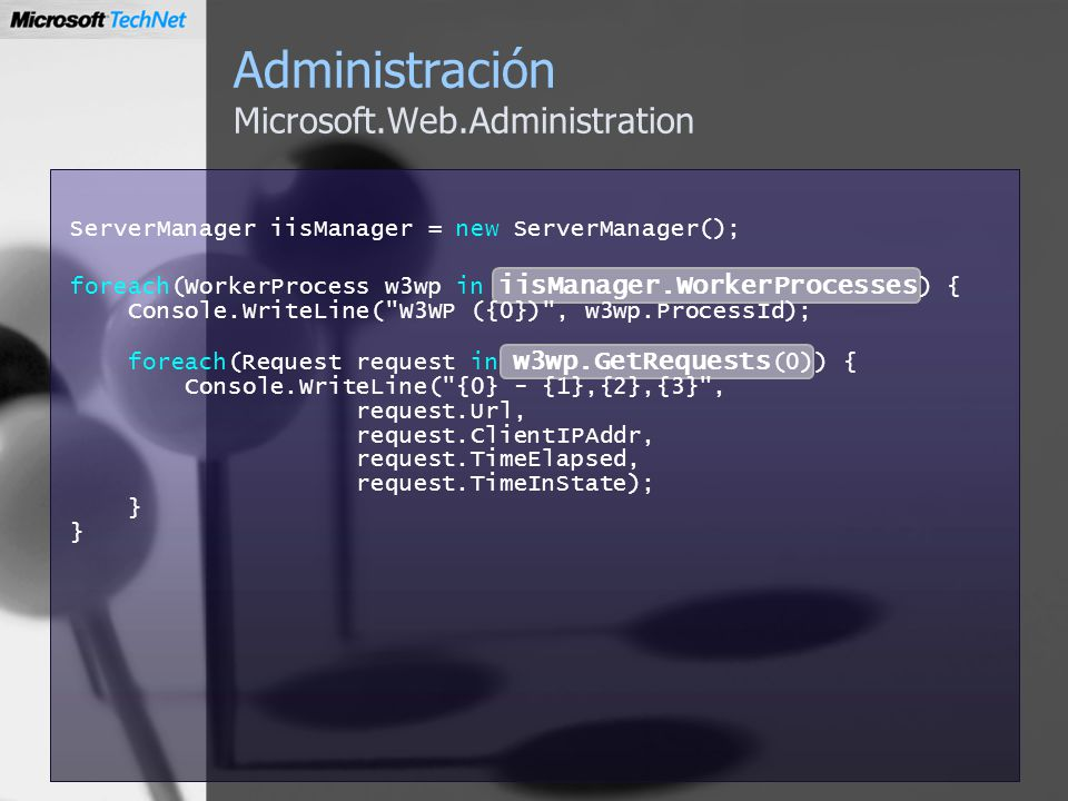 Administración Microsoft.Web.Administration